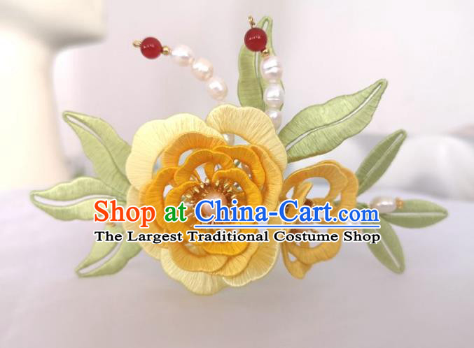 China Traditional Hanfu Hair Accessories Ming Dynasty Pearls Hair Stick Ancient Princess Yellow Silk Peony Hairpin