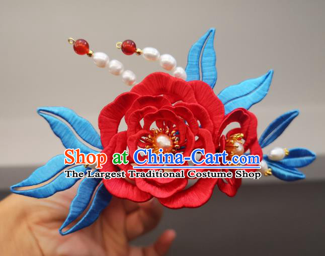 China Ming Dynasty Pearls Hair Stick Ancient Princess Red Silk Peony Hairpin Traditional Hanfu Hair Accessories