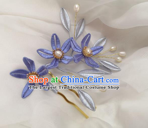China Ming Dynasty Lilac Silk Flowers Hairpin Traditional Hanfu Hair Accessories Ancient Princess Pearls Hair Comb