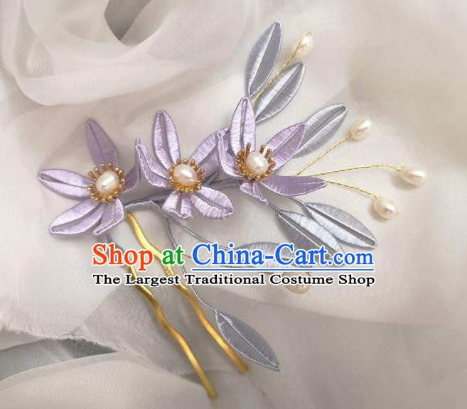 China Traditional Hanfu Hair Accessories Ancient Princess Pearls Hair Comb Ming Dynasty Lilac Silk Flowers Hairpin
