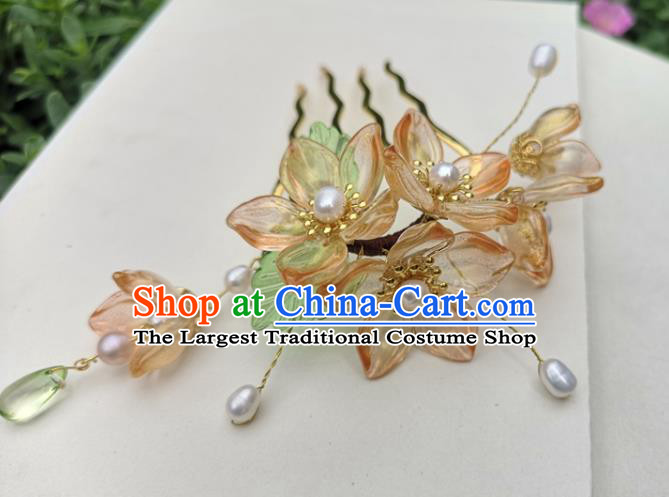 China Ming Dynasty Orange Plum Blossom Hair Stick Traditional Ancient Princess Hairpin Hanfu Hair Accessories