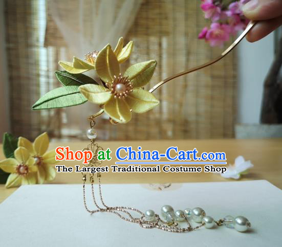 China Ming Dynasty Tassel Hair Stick Traditional Hanfu Hair Accessories Ancient Princess Yellow Silk Flower Hairpin