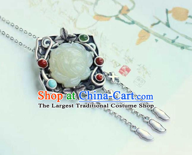 China Classical Cheongsam Silver Tassel Pendant Accessories Traditional Jade Lotus Necklace