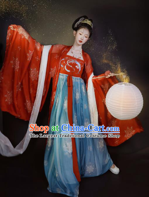 China Ancient Imperial Concubine Embroidered Hanfu Dress Traditional Tang Dynasty Palace Woman Historical Clothing