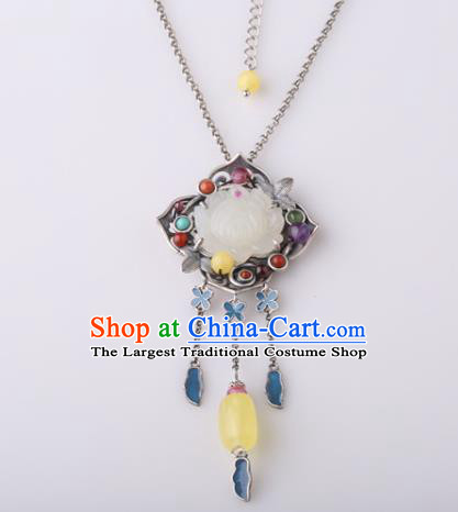 China Classical Jade Lotus Necklace Pendant Traditional Cheongsam Beeswax Necklet Accessories