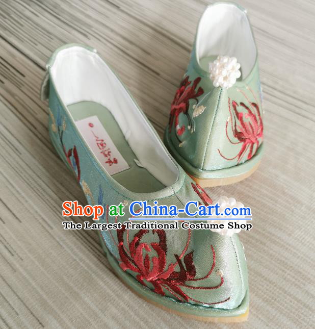 Handmade Chinese Embroidered Green Shoes Traditional Ming Dynasty Hanfu Shoes Satin Shoes Bow Shoes