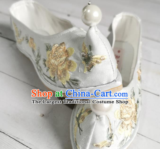 Handmade Chinese Light Blue Satin Bow Shoes Embroidered Shoes Traditional Hanfu Shoes Ancient Princess Shoes