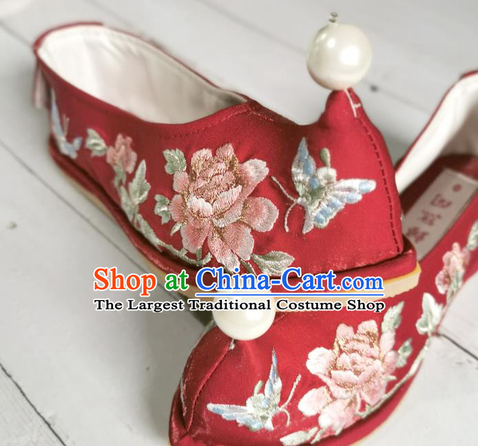 Handmade Chinese Wedding Red Satin Shoes Embroidered Shoes Ancient Princess Shoes Traditional Hanfu Bow Shoes