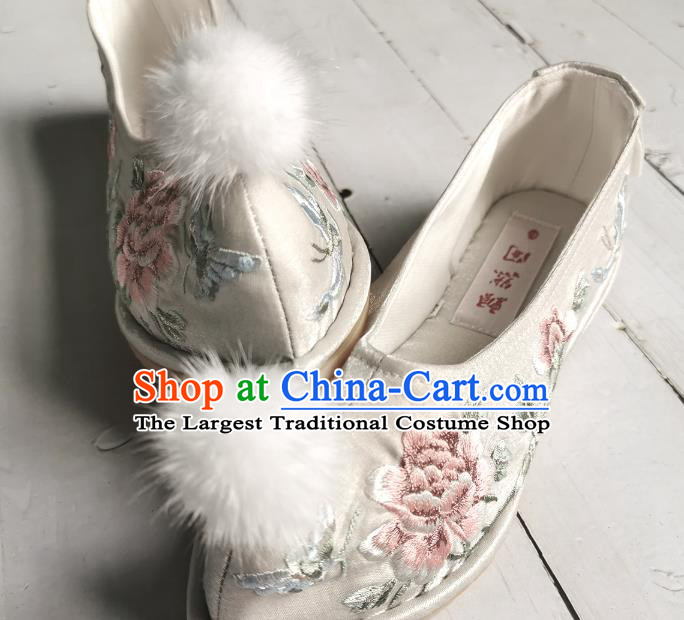 Handmade Chinese Embroidered Shoes Ancient Princess Shoes Traditional Hanfu Bow Shoes Wedding Argent Satin Shoes