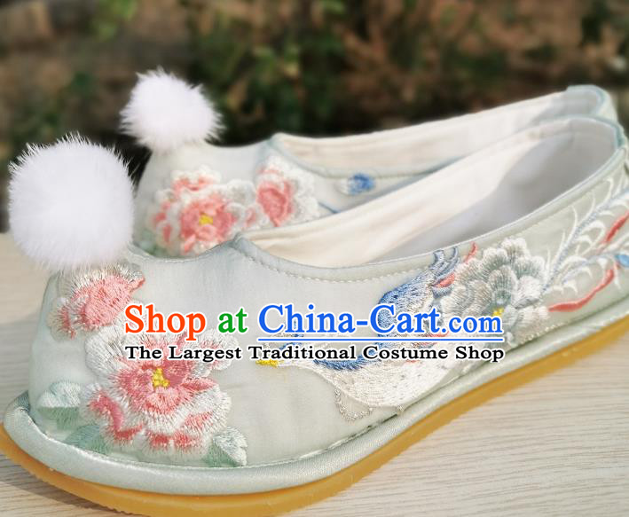 Handmade Chinese Embroidered Phoenix Peony Shoes Ancient Princess Shoes Traditional Hanfu Light Green Satin Bow Shoes