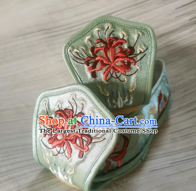 Handmade Chinese Princess Shoes Bow Shoes Embroidered Shoes Traditional Han Dynasty Green Satin Shoes