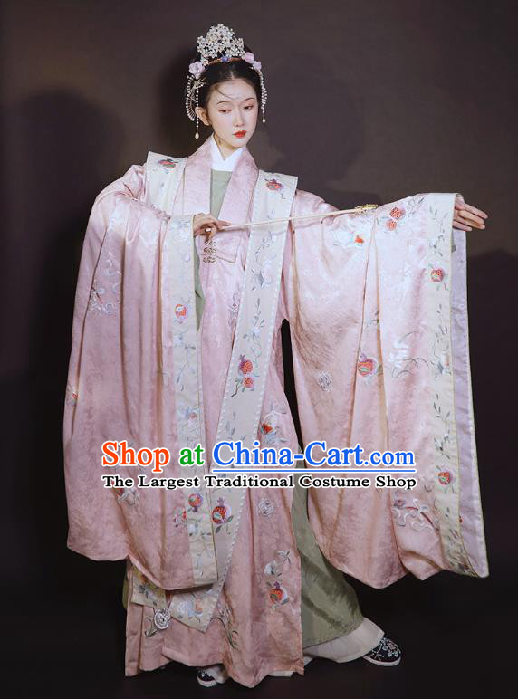 China Ancient Ming Dynasty Wedding Historical Clothing Traditional Court Concubine Embroidered Pink Hanfu Dress