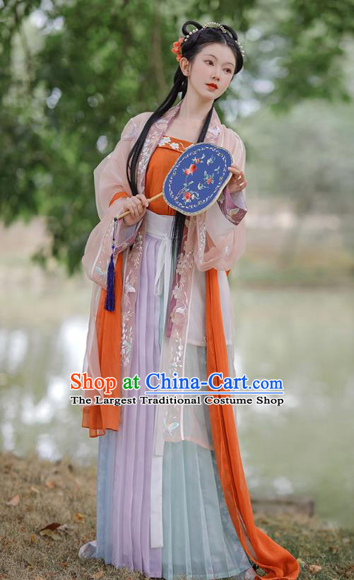 China Ancient Noble Lady Historical Clothing Traditional Song Dynasty Young Beauty Embroidered Costumes