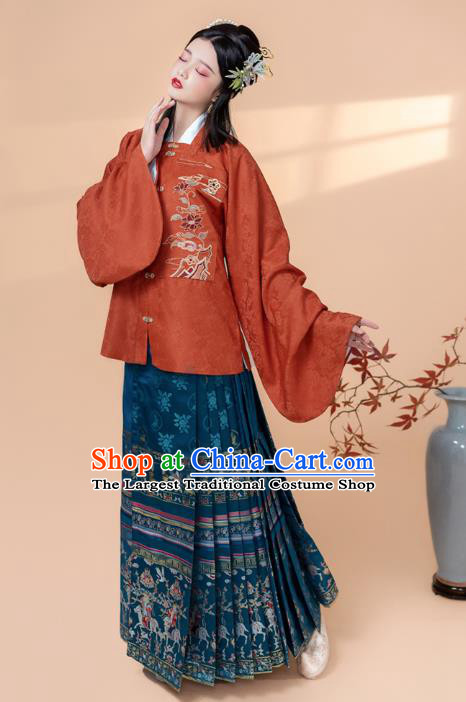 China Ancient Patrician Woman Historical Clothing Traditional Ming Dynasty Nobility Lady Embroidered Costumes Full Set