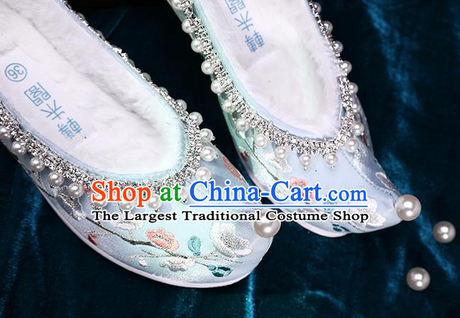 Chinese Ancient Princess Green Satin Shoes Traditional Embroidered Plum Blossom Shoes Handmade Pearls Shoes