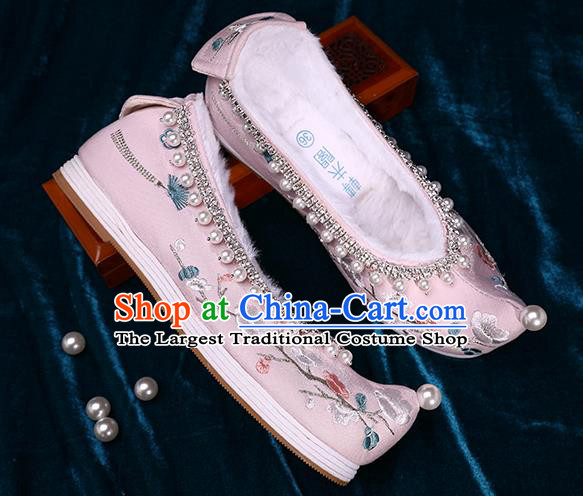 Chinese Traditional Embroidered Plum Blossom Shoes Handmade Pearls Shoes Ancient Princess Pink Satin Shoes