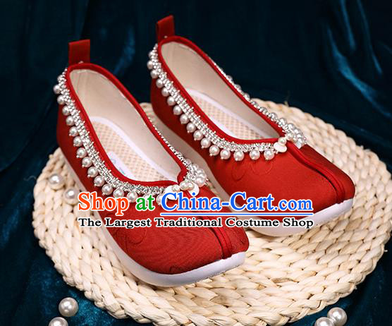 Chinese Handmade Wedding Red Cloth Shoes Ancient Princess Shoes Traditional Hanfu Pearls Shoes