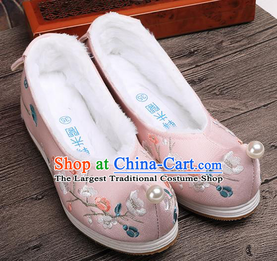 Chinese Traditional Hanfu Winter Shoes Ancient Princess Shoes Handmade Embroidered Plum Blossom Pink Shoes