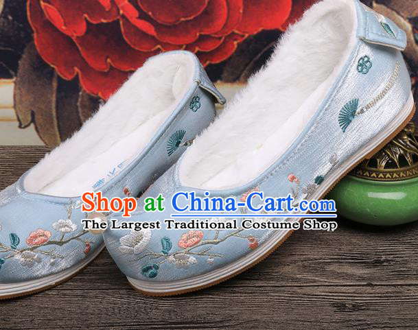 Chinese Ancient Princess Shoes Handmade Embroidered Plum Blossom Blue Shoes Traditional Hanfu Winter Shoes