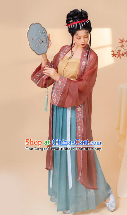 China Ancient Young Woman Hanfu Dress Traditional Historical Clothing Song Dynasty Country Lady Costume