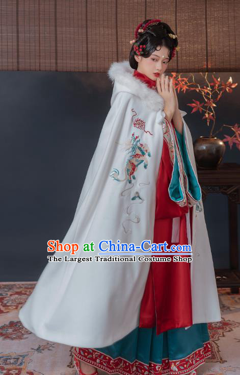 China Ancient Imperial Concubine Historical Clothing Traditional Ming Dynasty Embroidered Hanfu White Cape