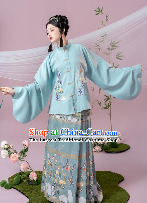 China Ancient Ming Dynasty Young Beauty Historical Hanfu Clothing Complete Set