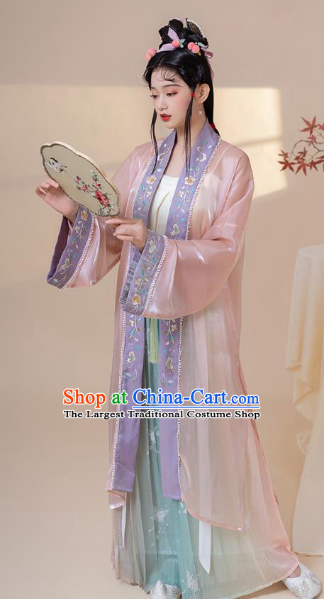 Traditional China Song Dynasty Young Lady Historical Clothing Ancient Noble Woman Hanfu Dresses