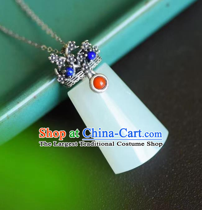 China Traditional Cheongsam Jade Necklace Jewelry Handmade Silver Plum Necklet Pendant Accessories