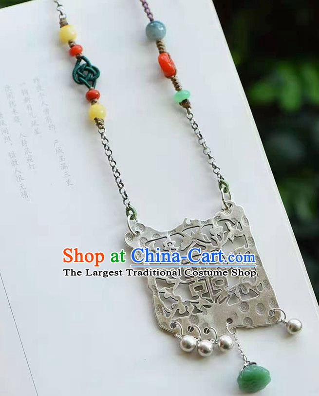 Chinese Classical Wedding Silver Carving Necklace National Handmade Jade Lotus Seedpod Jewelry Accessories Pendant