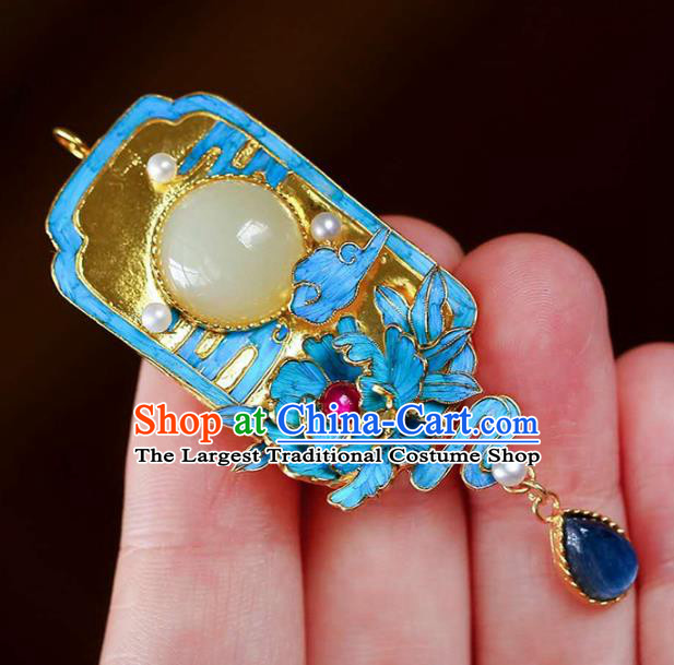 Chinese Classical Sapphire Necklace Handmade Jewelry Accessories National Jade Necklet Pendant