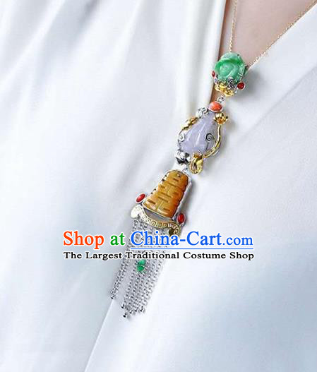 Chinese Classical Silver Tassel Necklace Handmade Jewelry Accessories National Wedding Jade Necklet Pendant
