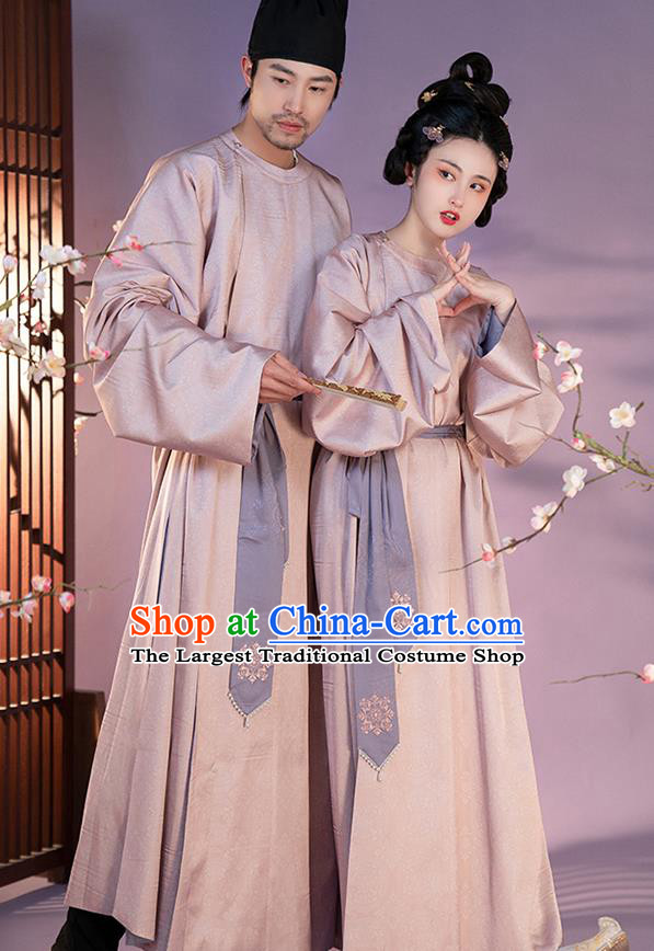 Traditional China Tang Dynasty Historical Costumes Ancient Swordsman Pink Robe for Women for Men
