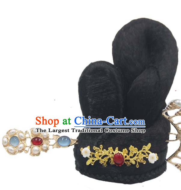 Chinese Traditional Flying Apsaras Dance Headwear Classical Dance Wigs Chignon and Hair Accessories