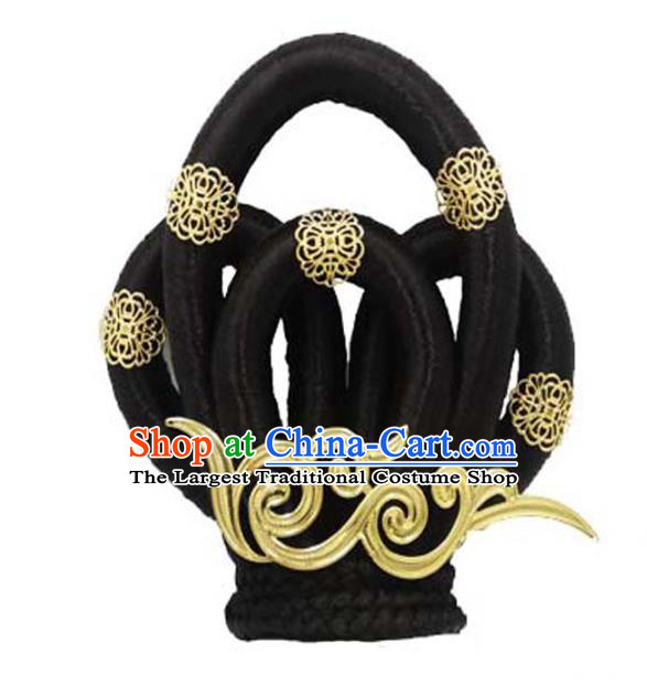 Chinese Ancient Palace Dance Hair Chignon and Hair Accessories Traditional Tang Dynasty Princess Wigs