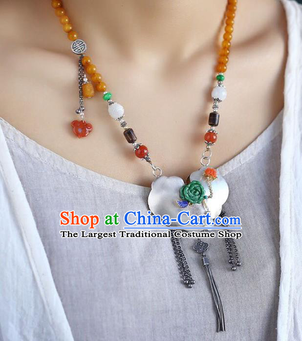 Chinese Handmade Silver Accessories National Ceregat Beads Necklace Classical Longevity Lock Pendant