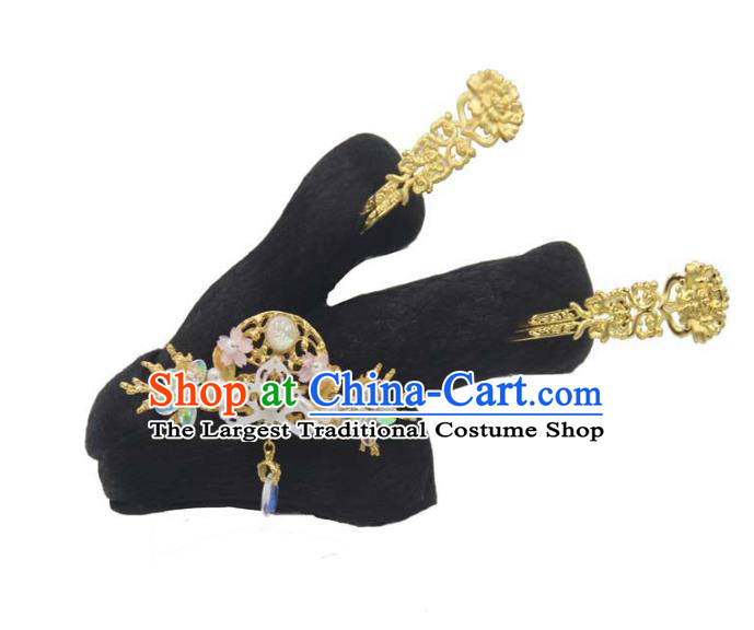 Chinese Ancient Princess Hair Chignon and Hair Accessories Traditional Song Dynasty Noble Lady Wigs