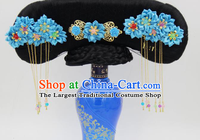 Chinese Ancient Princess Wigs Great Wing Qing Dynasty Palace Lady Hair Chignon and Blue Silk Flowers Hairpins
