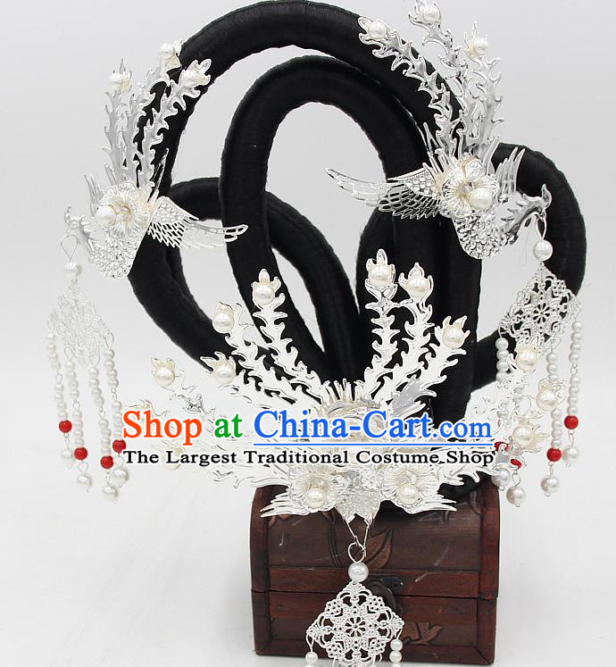 Chinese Tang Dynasty Court Woman Hair Chignon and Argent Phoenix Hairpins Ancient Court Lady Wigs Sheath Headwear