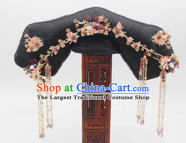 Chinese Qing Dynasty Imperial Consort Hair Chignon and Hairpins Ancient Court Woman Wigs Great Wing Headwear