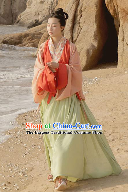 Traditional China Jin Dynasty Palace Lady Hanfu Dress Clothing Ancient Young Beauty Historical Costume