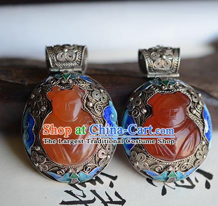 China Traditional Cloisonne Silver Necklet Jewelry Accessories National Agate Carving Friendlies Necklace Pendant