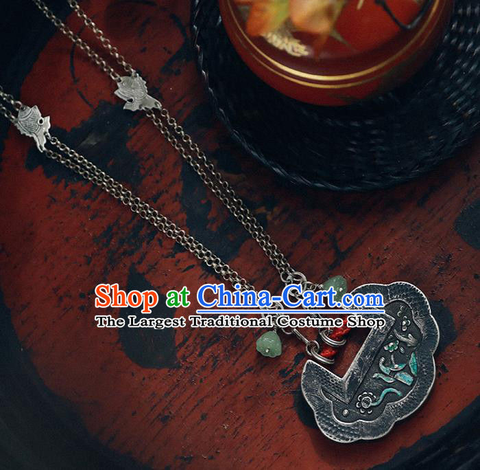 Chinese Classical Cheongsam Necklet Accessories Silver Longevity Lock National Necklace