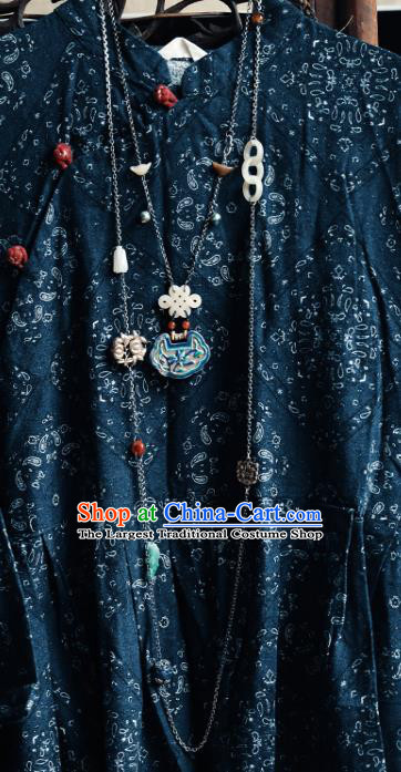 Chinese National Blueing Orchid Necklace Handmade Ethnic Silver Necklet Accessories Classical Jade Jewelry