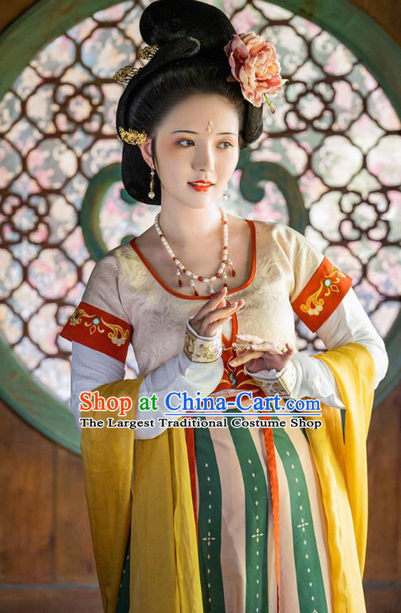 China Ancient Court Lady Embroidered Hanfu Dress Traditional Tang Dynasty Historical Clothing Complete Set