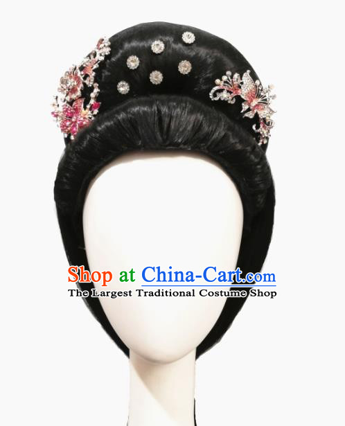 Traditional China Classical Dance Headwear Handmade Han Dynasty Dance Wig Chignon Stage Show Hair Accessories