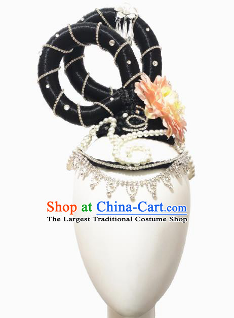 Traditional China Classical Dance Stage Show Hair Accessories Court Dance Headwear Handmade Flying Apsaras Dance Wig Chignon