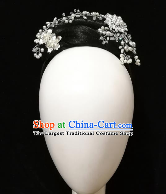Traditional China Handmade Fan Dance Wig Chignon Folk Dance Stage Show Hair Accessories Yangko Dance Headwear
