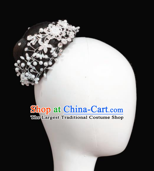 Traditional China Handmade Fan Dance Wig Chignon Stage Show Hair Accessories Folk Dance Headwear