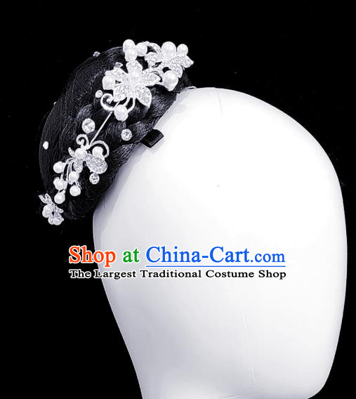 Traditional China Handmade Fan Dance Wig Chignon Stage Show Hair Accessories Folk Dance Headdress