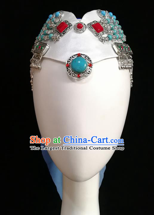 China Handmade Mongolian Ethnic Bowl Dance Hair Accessories Traditional Mongol Nationality Folk Dance Hat